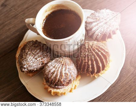 Hot Coffee And Delicious Cookies On Wooden Background Top View