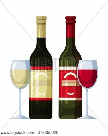 Two Bottles Of Red And White Wine And Full Wineglasses Isolated On Transparent Backdrop. Alcoholic B