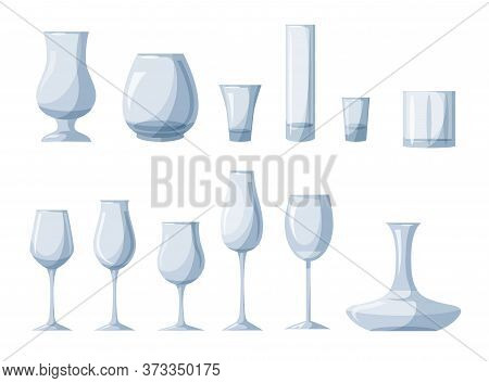 Transparent Empty Glassware Accessories For Wine, Beer, Martini, Champagne Degustation Set. Glasses
