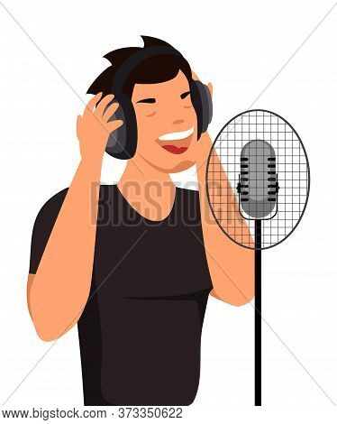Young Man In Headphones Singing Song In Microphone. Male Cartoon Character Recording Song In Audio S
