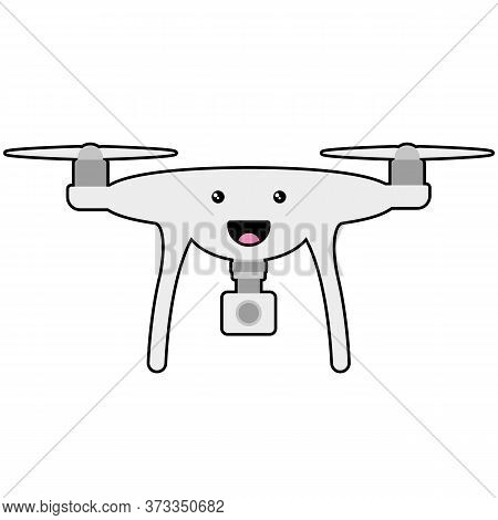 Cartoon Smiling Face On Drone With Camera Vector