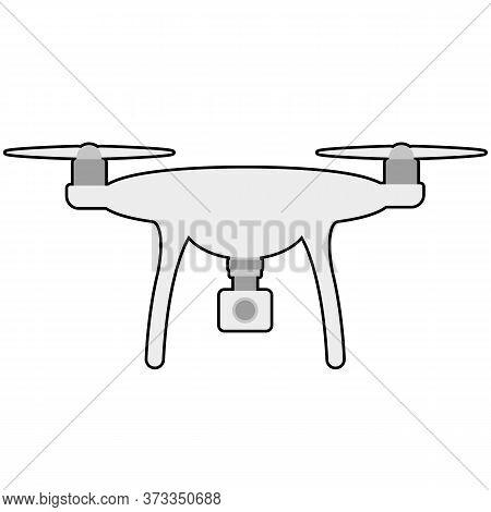 Drone Quadcopter With Camera Cartoon Icon Vector
