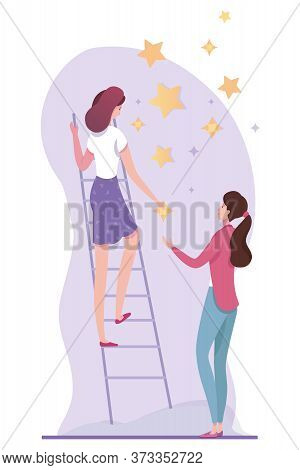 Two Young Women Hanging Stars On Wall. Cartoon Female Freelancers Characters Working Together. Teamw