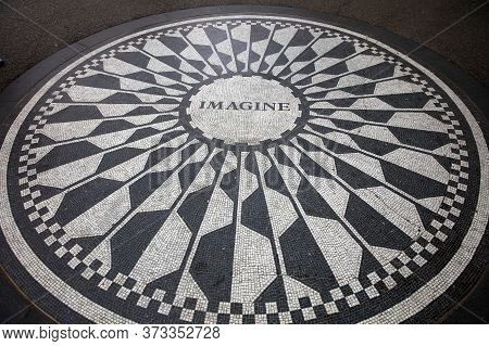 The Imagine Mosaic In Strawberry Fields. Central Park. New York City. Usa