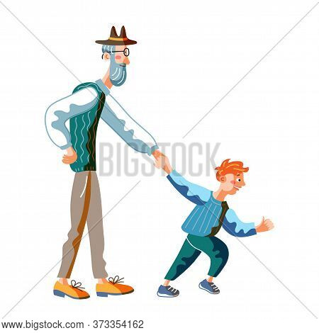 Grandfather And Grandson On Walk Isolated On White. Boy Pulling Grandpa Hand. Shopping With Grannies