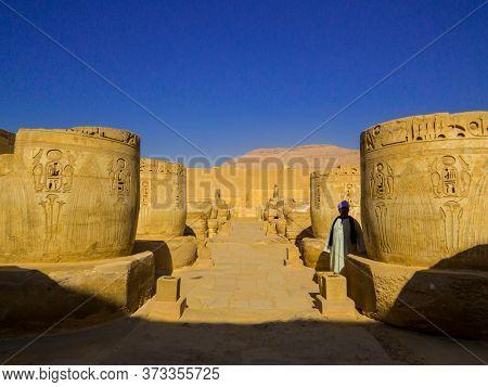 Luxor, Egypt - November 4, 2019: Guardian In The Medinet Habu Temple.
