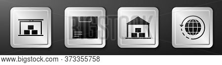 Set Warehouse, Carton Cardboard Box, Warehouse And Worldwide Shipping And Box Icon. Silver Square Bu