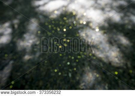 Blurred Golden Bokeh On The Ground For Background