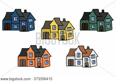 Houses With Windows, Doors And A Garage. Set Of Vector Illustrations. Modern Mansion. Cottage. Stay