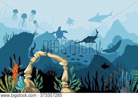 Underwater Sandstone Arch. Natural Underwater Seascape. Marine Green Algae Part Of The Seabed. Coral