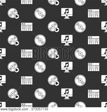Set Computer With Music Note, Music Synthesizer, Vinyl Disk And Vinyl Disk On Seamless Pattern. Vect
