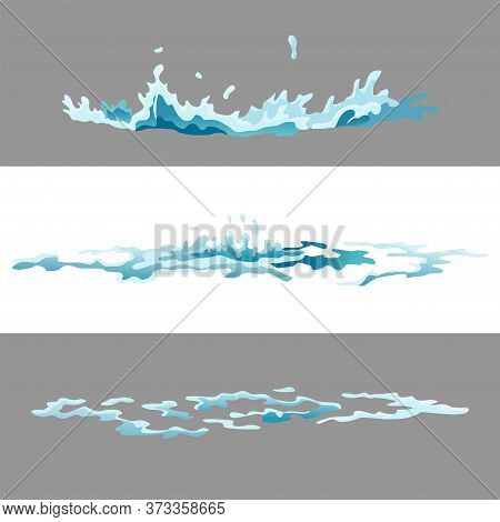 Element Water Splashes Animation. Vector Frame Set For Game Animation. Dripping Water Special Effect