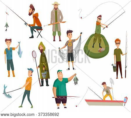 Set Of Fishermans Fishing With Fishing Rod. Fishing Equipment, Leisure And Hobby Catch Fish. Fisherm