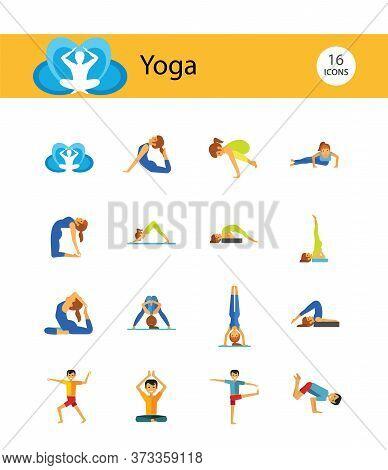 Yoga Icon Set. Meditation Rajakapotasana Sarvangasana Halasana Ustrasana Astavakasana Bakasana Hands