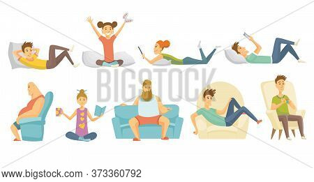 Collection Of Home Leisure. Boys And Girls Rested At Home In Differint Situations. Young People Leis