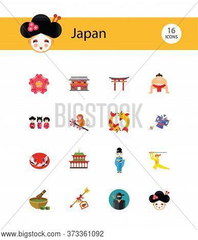 Japan Icon Set. Japanese Kite Japanese Cranes Torii Gate Bonsai Tree Koi Fish Japanese Ninja Sumo Wr