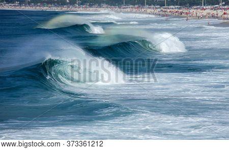 Copacabana beach in Rio de Janeiro on a big wave day
