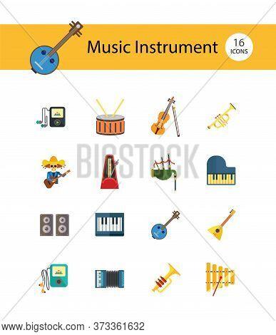 Music Instrument Icon Set. Drum And Drumsticks Balalaika Banjo Instrument Classic Accordion Violin A