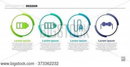 Set Battery Charge Level Indicator, Battery Charge Level Indicator, Electric Plug And Resistor Elect