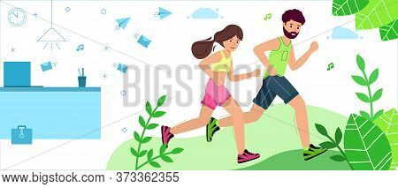 Woman And Man Runs Away From Work To The Park. Run In The Woods Or Park.