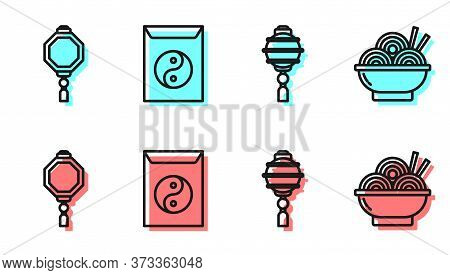 Set Line Chinese Paper Lantern, Chinese Paper Lantern, Yin Yang And Envelope And Asian Noodles In Bo
