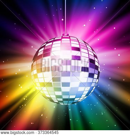 Shining Bright And Colorful Disco Ball. Retro Disco Ball On Colorful Background With Particles. Vect