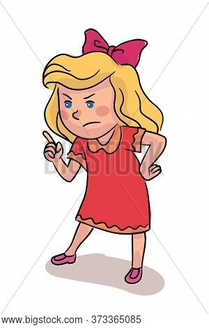 Little Girl Scolding With Forefinger Isolated On White. Small Female Child Cartoon Character Standin