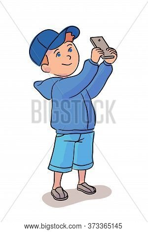 Cute Little Boy Taking Photo On Mobile Phone. Happy Smiling Cartoon Character Standing Isolated On W