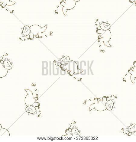 Seamless Background Simple Triceratops Dinosaur Gender Neutral Baby Pattern. Whimsical Minimal Earth