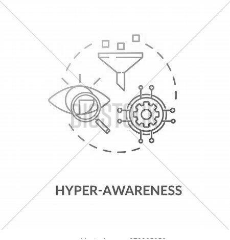 Hyper Awareness Blue Gradient Concept Icon. Marketing Strategy. Sales Funnel. Workforce Management.
