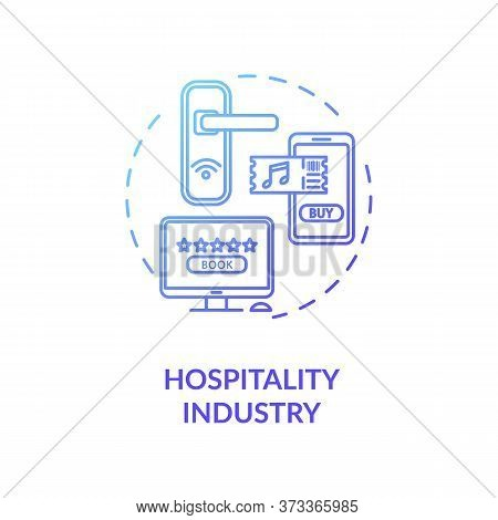 Hospitality Industry Blue Gradient Concept Icon. Lodging And Hotel For Tourism. Buy Ticket To Event.