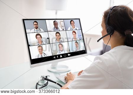 Medical Doctor Holding Online Elearning Video Conference