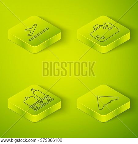 Set Isometric Suitcase, Airport Conveyor Belt With Suitcase, Jet Fighter And Plane Takeoff Icon. Vec