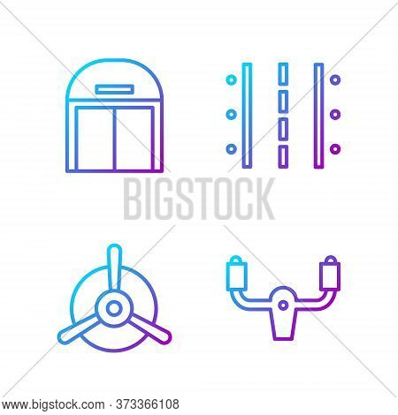 Set Line Aircraft Steering Helm, Plane Propeller, Aircraft Hangar And Airport Runway. Gradient Color