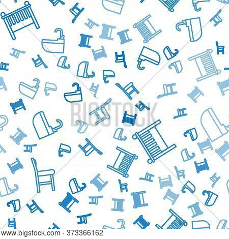 Set Line Chair, Baby Crib Cradle Bed And Washbasin With Water Tap On Seamless Pattern. Vector