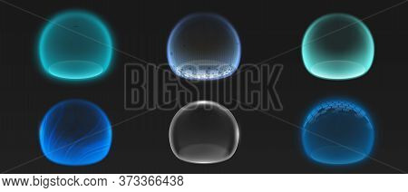Force Shield Bubbles, Various Energy Glowing Spheres Or Defense Dome Fields. Science Fiction Deflect