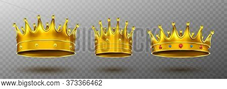 Golden Crowns For King Or Queen Crowning Headdress For Monarch. Royal Gold Monarchy Medieval Coronat