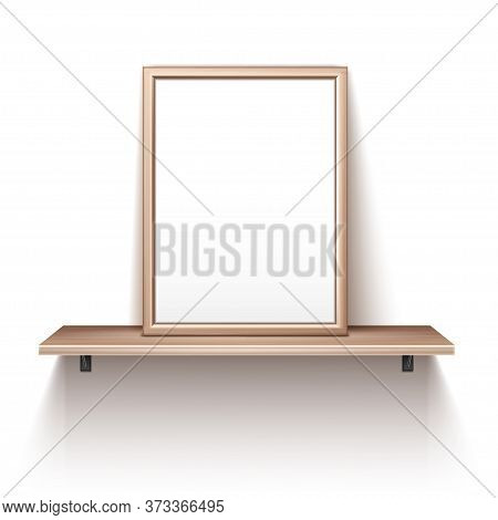 Empty Wooden Photo Frame Standing On Shelf. Vector Realistic Mockup Of Interior Decoration With Blan