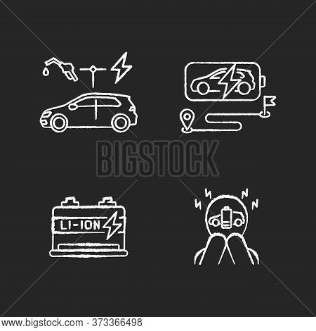 Electric Vehicles Travel Chalk White Icons Set On Black Background. Hybrid Cars, Lithium Ion Battery