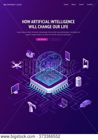 Artificial Intelligence Banner. Concept Of Innovation Technologies In Life. Vector Isometric Illustr