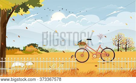 Autumn Landscape Fram Fields With Bicycle,vector Late Summer In Countryside With Wood Barn, Wild Flo