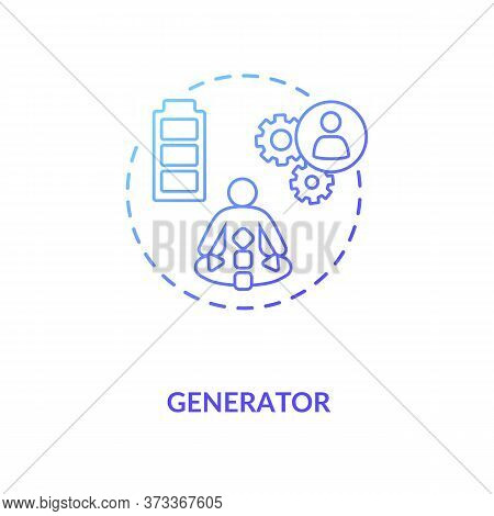 Generator Blue Gradient Concept Icon. Sustainable Life Force. Energy Center Of Aura. Body Graph Guid