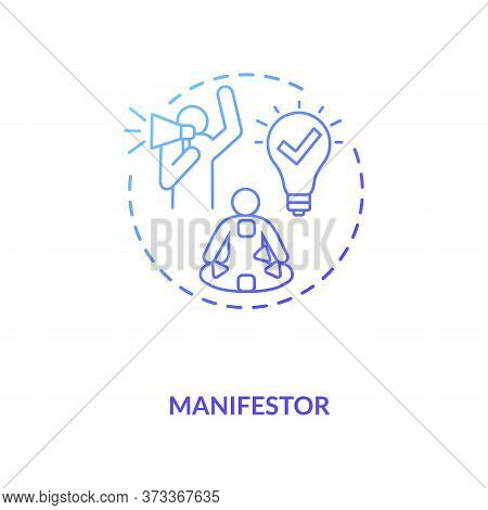 Manifestor Blue Gradient Concept Icon. Rally To Action. Astrological Body Graph With Energy Centers.
