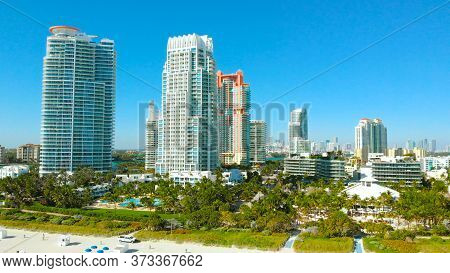 South Beach, Miami Beach, South Pointe Park, Government Canal. Florida. Miami Beach Rock Jetty Gover