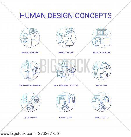Human Design Blue Gradient Concept Icons Set. Improve Self Understanding. Accept Oneself. Chakra Typ
