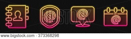 Set Line Mail And E-mail, Address Book, Shield With Mail And E-mail And Calendar With Email. Glowing