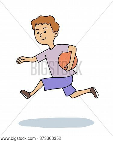 Cartoon Happy Cute Boy Running With Ball Isolated On White. Sport Games For Children. Active Recreat