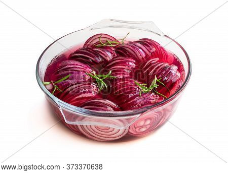 Marinated  Pickled Red Onion Rings In Glass Bowl Isolated On White
