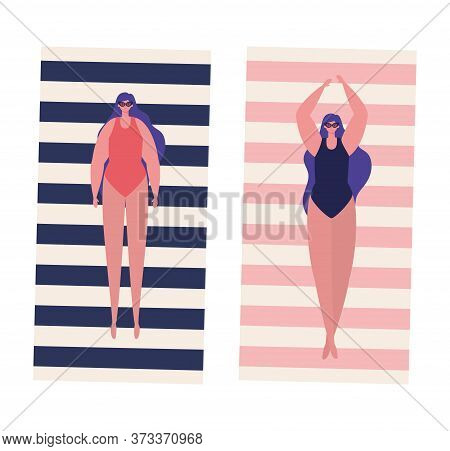 Girls Cartoons With Swimsuits And Glasses On Towels Design, Summer Vacation Tropical Relaxation Outd