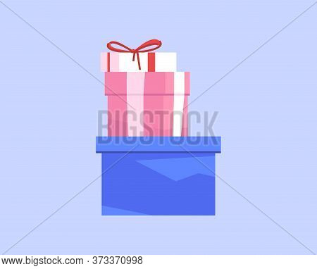 Presents Semi Flat Rgb Color Vector Illustration. Stack Of Festive Boxes Isolated Cartoon Objects On